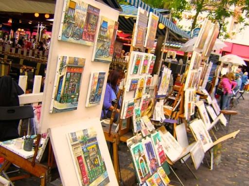 dipinti di artisti a Montmartre, artisti di strada in francia