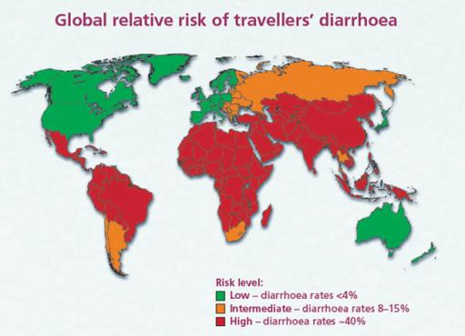 Paesi a maggior rischio di Diarrea del Viaggiatore - © travellersdiarrhoea.co.uk
