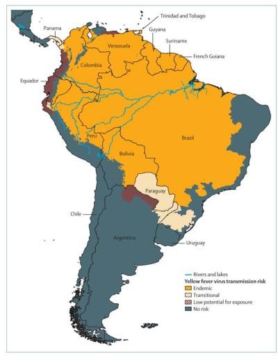 mappa febbre gialla sud america