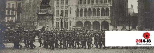 Truppe tedesche sfilano in Markt a Bruges - © Brugge in Oorlog 1418