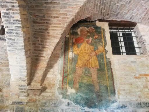 Dipinto originale sotto una delle volte delle copertelle di Serra San Quirico