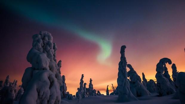 L'aurora boreale in Lapponia