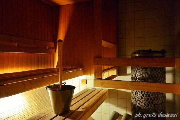 La cabina femminile della sauna Hermanni